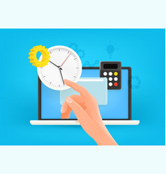 Time management concept modern laptop with clock vector