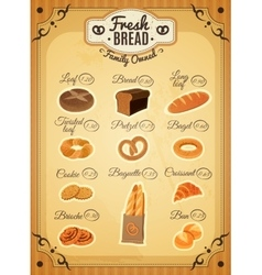 Vintage Style Bakery Price List Poster vector