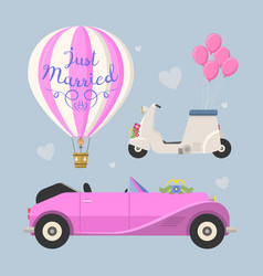 Wedding fashion transportation vector