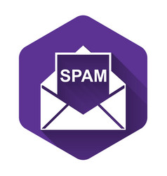 White envelope with spam icon isolated with long vector