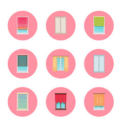 Windows and curtains set vector