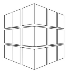 Wireframe mesh outline cube vector