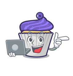 With laptop blueberry cupcake character cartoon vector