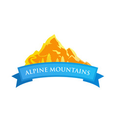alpine mountains emblem vector image vector image