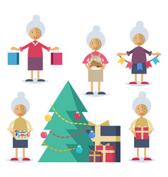 an old woman preparing for christmas vector image vector image