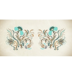 Blue and brown flowers vector image