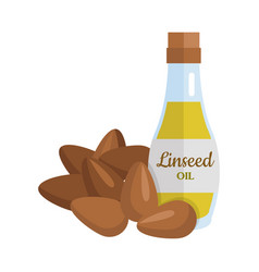 Linseed oil in flat design vector