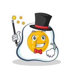 Magician fried egg character cartoon vector