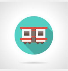 Passenger wagon blue round icon vector