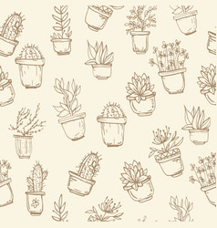 cute hand drawn seamless pattern with cactus vector image vector image