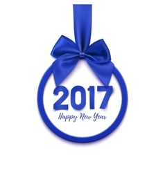 Happy New Year 2017 round blue banner vector image vector image