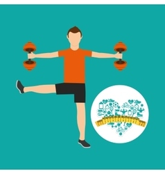 heart weight loss sport male lifting dummbell vector image