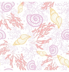 Seashells and seaweed seamless pattern background vector image