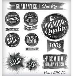 Watercolor Quality Badges black vector image