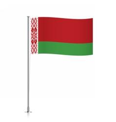 Belarus flag waving on a metallic pole vector