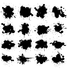 black ink splat isolated on white collection set vector image vector image