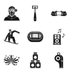 Blogger icons set simple style vector