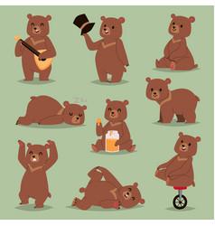 ccute cartoon bear emotions brown character vector image vector image