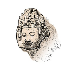Drawing head of Bodhisattva vector image