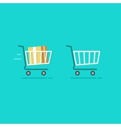 Shopping cart full and empty icons vector image vector image