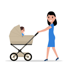 cartoon mother riding a child baby carriage vector image vector image