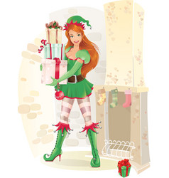 cute female elf with christmas presents vector image vector image