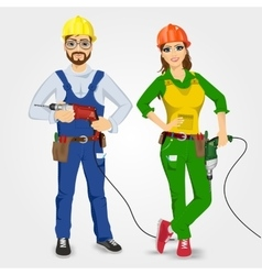 handyman and handywoman holding drills vector image vector image