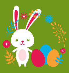 happy easter rabbit funny bunny flowers and eggs vector image