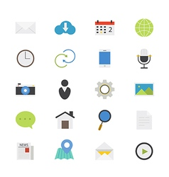 Internet Web and Mobile Flat Icons color vector image vector image