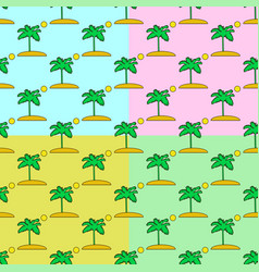 palm tree seamless pattern set on a colors vector image vector image