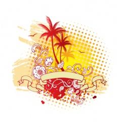 palms ribbon vector image vector image