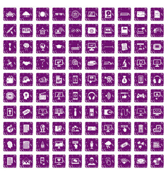 100 website icons set grunge purple vector image