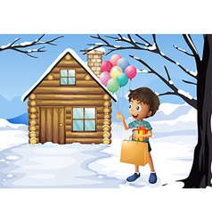 A boy holding a bag and balloons vector