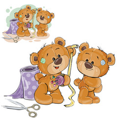 A brown teddy bear tailor vector
