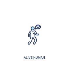 Alive human concept 2 colored icon simple line vector