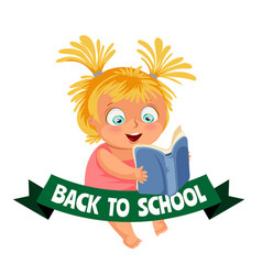 Back to school flat poster girl sitting and vector
