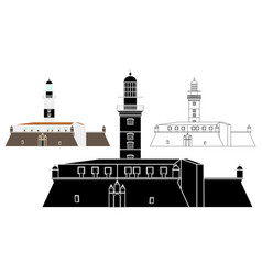 Barra lighthouse and military fort black fill vector