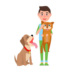 boy with cat and dog poster vector image