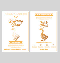 Butchery shop poster with goose meat cutting vector