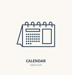 calendar flat line icon table schedule sign thin vector image