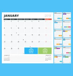 Calendar planner for 2018 year print design vector