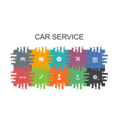 Car service cartoon template with flat elements vector