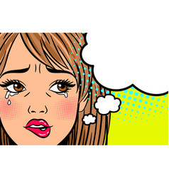 cartoon crying woman vector image