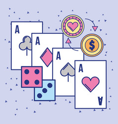 casino aces card craps and chip coin vector image