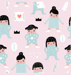 Childish seamless pattern with girls in pajamas vector