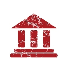 Classical building red grunge icon vector