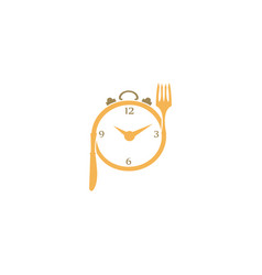 clock in a plate food with fork and knife design vector image