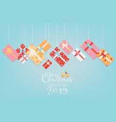 colorful christmas banner design with gifts vector image