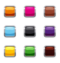 Control equipment button icons set cartoon style vector