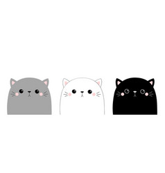 cute cat face head set kawaii animal gray black vector image